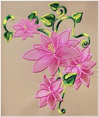 Gambar bordir dengan motif bunga