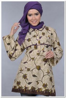 Gambar Baju Atasan Batik Wanita Muslim Terbaru