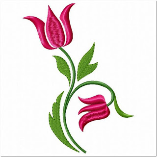 Contoh Motif Bordir Bunga Tulip