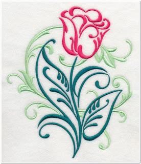 Contoh Motif Bordir Daun Bunga Tulip