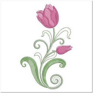 Motif Bordir Bunga Tulip Cantik