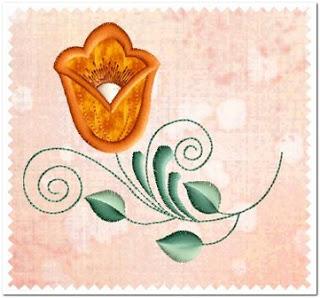 Motif Bordir Bunga Tulip