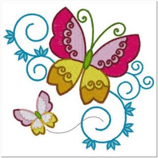 Motif Bordir Kupu-kupu