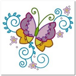Motif Bordir Sederhana Kupu-kupu