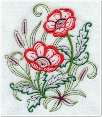 Motif Bordiran Gambar Bunga Kecil