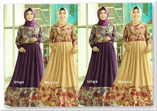Baju gamis motif bunga kombinasi polos