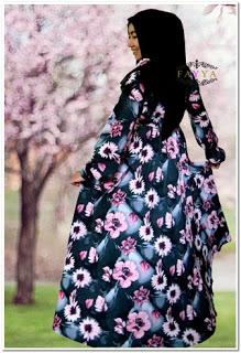 Gamis katun jepang motif bunga besar