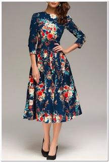 dress motif bunga lengan panjang