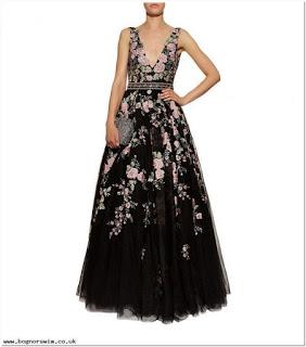 Long dress motif bunga kecil
