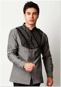 Contoh Baju koko kombinasi batik lengan panjang