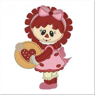 Contoh Motif Bordir Boneka Cantik Love