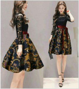 Dress batik korea modern simple