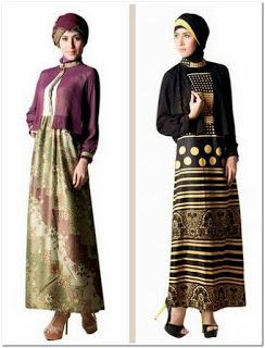 Gamis batik kombinasi polos modern 2018
