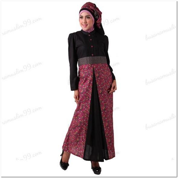 Gamis batik kombinasi kain polos remaja