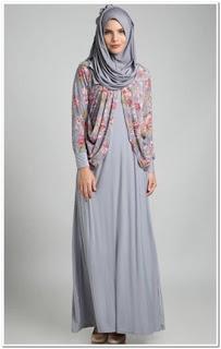 Model gamis sifon kombinasi blazer batik
