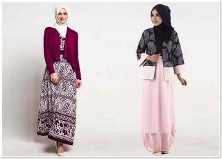 Gamis batik kombinasi blazer polos