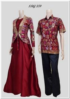 Desain gamis batik kombinasi blazer