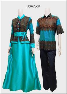 Baju gamis batik kombinasi blazer