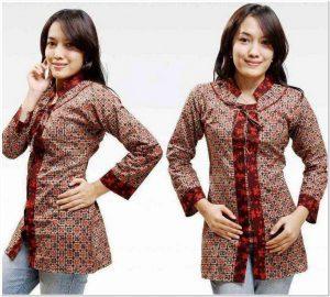 Gambar Model baju batik atasan wanita lengan panjang