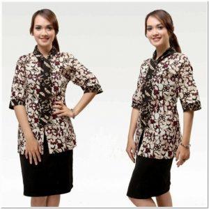 Contoh Model baju batik guru modis