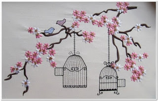 Motif Bordir Bunga Sakura Kecil