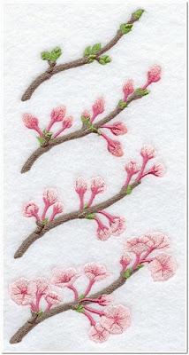 Bordir Tangkai Bunga Sakura