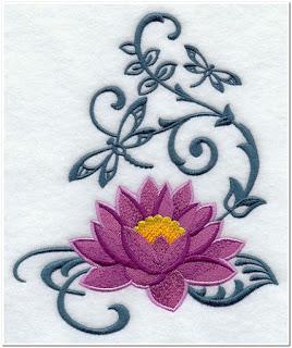 Gambar bordir bunga teratai