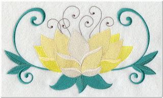 Punching bordir tempel bunga teratai