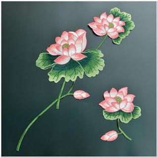 Contong Gambar bunga teratai untuk punching bordir