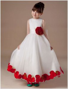 gaun pesta anak perempuan umur 10 tahun motif bunga