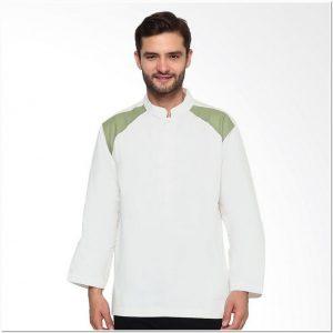 Baju koko warna putih polos lengan panjang