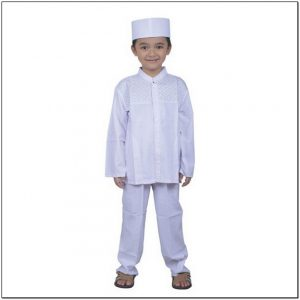 Baju koko anak-anak warna putih bersih
