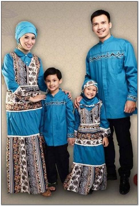 Model baju keluarga utk lebaran warna biru