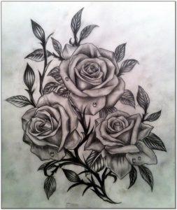 Aneka Sketsa rangkaian bunga mawar
