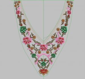 Desain Motif Bordir Gamis Bagian Dada Terbaru