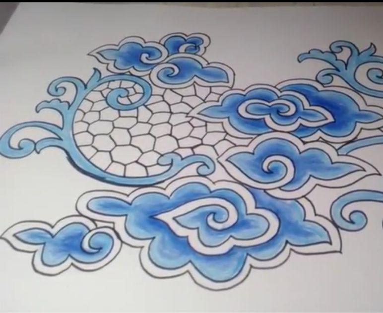 sketsa motif batik cirebon mega mendung contoh motif batik sketsa motif batik cirebon mega mendung