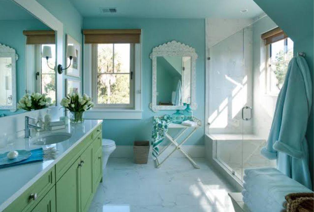 Contoh Ruang Dapur Hijau Tosca Cantik